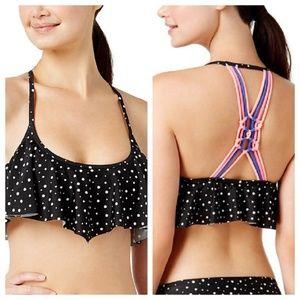 Space Dot Printed Flounce Bikini Swim Top